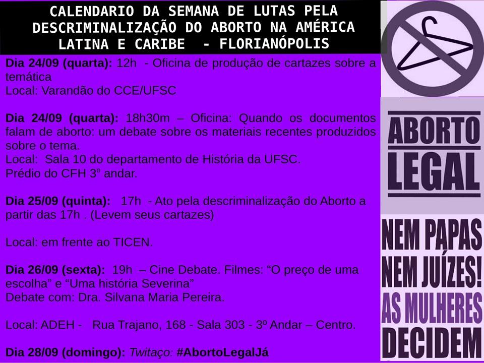 calendário de lutas pela descriminalização do abrto