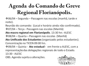 Agenda  do Comando de Greve Regional Florianópolis
